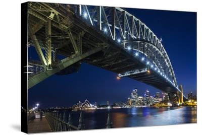 Australia, Sydney Harbor Bridge and Skyline from Milsons Point-Walter Bibikow-Stretched Canvas Print