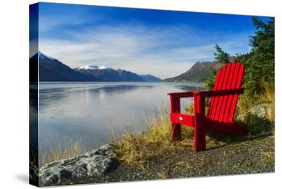 Red Adirondack Chair, Turnagain Arm, Southcentral Alaska-Design Pics Inc-Stretched Canvas Print