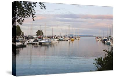 Boats in the Harbour at Sunset; Thunder Bay, Ontario, Canada-Design Pics Inc-Stretched Canvas Print