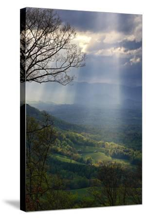 Shafts of Afternoon Sunlight Light Up a Farm in the Valley-Amy White and Al Petteway-Stretched Canvas Print