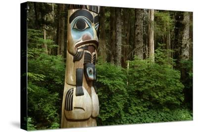 Closeup of Totem Pole Near Sitka Ak on Baranof Island, Tongass National Forest Southeast Summer-Design Pics Inc-Stretched Canvas Print