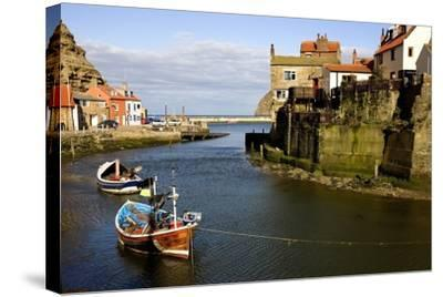 Moored Boats in Staithes; North Yorkshire, England, Uk-Design Pics Inc-Stretched Canvas Print