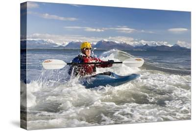 Man Kayak Surfing Waves on Katchemak Bay Near Homer Kenai Peninsula Alaska Autumn-Design Pics Inc-Stretched Canvas Print