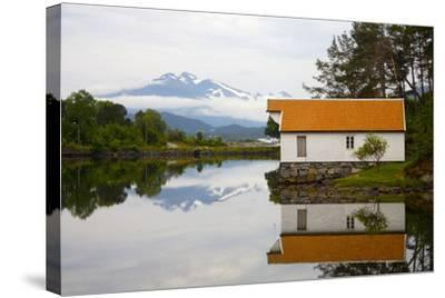 Open-Air Museum, Cottage Reflecting in Lake-Design Pics Inc-Stretched Canvas Print