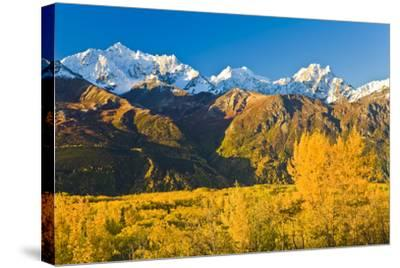 Scenic View of Chugach Mountains Along Matanuska Valley in Southcentral Alaska During Fall-Design Pics Inc-Stretched Canvas Print
