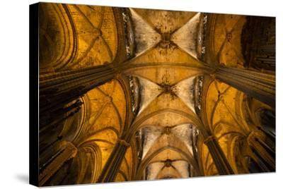 A View of the Columns and Vaulted Ceiling of the Catedral De Barcelona-Michael Melford-Stretched Canvas Print