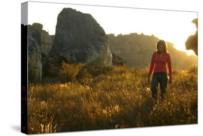 A Female Climber Walking at Sunset in the Cederberg Wilderness Area, South Africa-Keith Ladzinski-Stretched Canvas Print