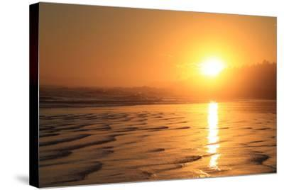 The Sun Sets over Maine's Higgins Beach in Wintertime-Robbie George-Stretched Canvas Print