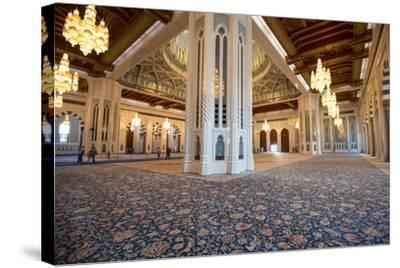 The World's Second Largest Carpet, Main Prayer Hall Floor of the Sultan Qaboos Grand Mosque-Michael Melford-Stretched Canvas Print