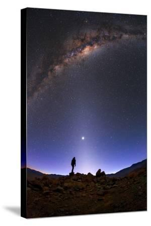 The Milky Way, Venus, and Zodiacal Light Above a Stargazer in the Desert-Babak Tafreshi-Stretched Canvas Print