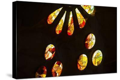 A Portion of a Rose Window at La Sagrada Familia Catedral-Michael Melford-Stretched Canvas Print
