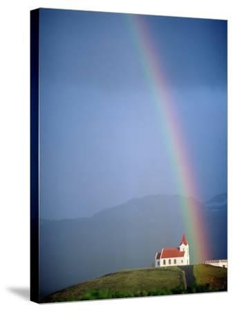 Rainbow over Church and Snaefellsness-Design Pics Inc-Stretched Canvas Print