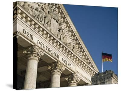 Detail of Bundestag (Reichstag) with German Flag in Front-Design Pics Inc-Stretched Canvas Print