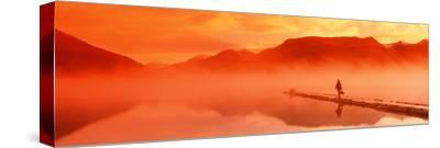 Walking on Dock Robe Lake at Sunrise Sc Ak Chugach Mts Summer Canoe and Flyfishing Gear-Design Pics Inc-Stretched Canvas Print
