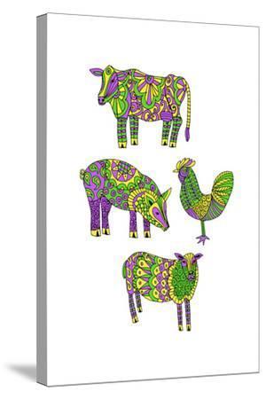 Moo?Baa..Oink-Jennifer Camilleri-Stretched Canvas Print