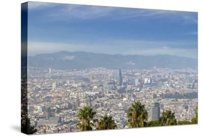 Barcelona Skyline from Montjuic.-Jon Hicks-Stretched Canvas Print