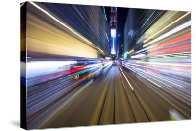 Street Lights from Hong Kong Tramway Street Car, China-Paul Souders-Stretched Canvas Print