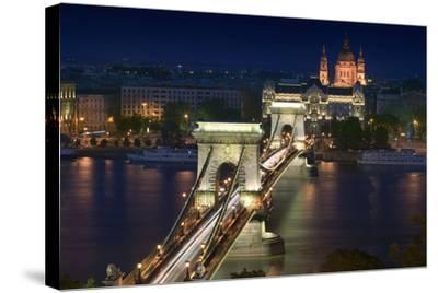 View of Chain Bridge and Pest-Jon Hicks-Stretched Canvas Print