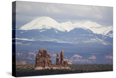Sandstone Formations and Snowcapped Mountains-DLILLC-Stretched Canvas Print