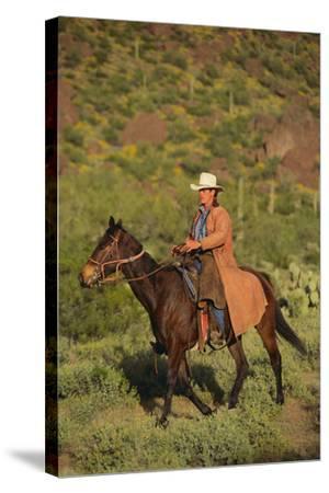 Cowboy Riding a Horse-DLILLC-Stretched Canvas Print