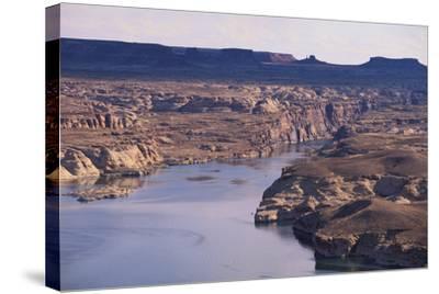 Lake among Desert Landforms-DLILLC-Stretched Canvas Print