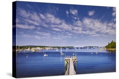 Pier near Southwest Harbor-Jon Hicks-Stretched Canvas Print