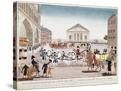 The King Louis XVIII Arriving at Notre Dame, Paris, 3 May 1814--Stretched Canvas Print