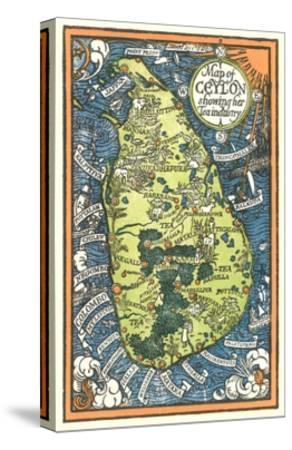 Map of Ceylon Tea Industry Sites-Found Image Press-Stretched Canvas Print