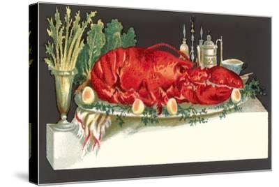 Huge Lobster on Serving Platter-Found Image Press-Stretched Canvas Print