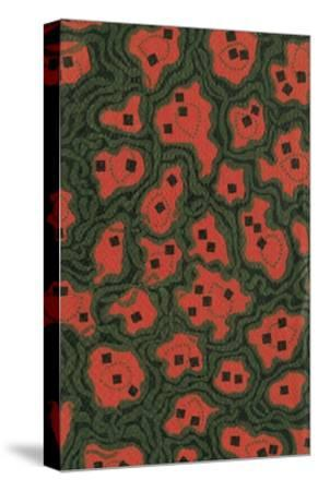 Red Shapes Surrounded by Green-Found Image Press-Stretched Canvas Print