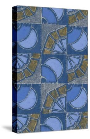 Patterned Squares of Blue and Gray-Found Image Press-Stretched Canvas Print