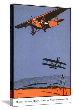 Bi-Plane and Monoplane-Found Image Press-Stretched Canvas Print