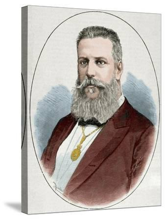 Santiago Estrada (1841-1891). Writer and Journalist. Engraving. Colored.-Tarker-Stretched Canvas Print