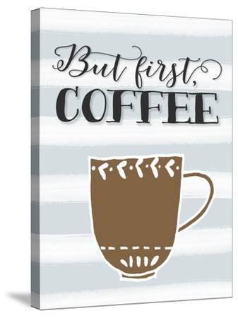 But First Coffee Brown Mug-Tara Moss-Stretched Canvas Print