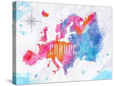 Watercolor Europe Map Pink Blue-anna42f-Stretched Canvas Print