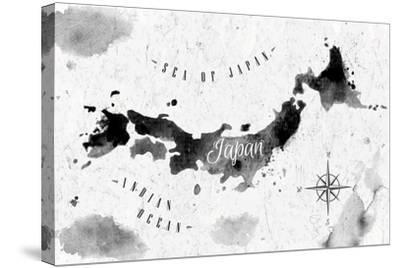 Ink Japan Map-anna42f-Stretched Canvas Print