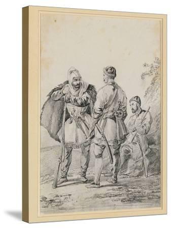 Three Caucasian Men in Conversation-Alexander Orlowski-Stretched Canvas Print