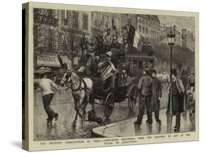 The Military Conscription in Paris-Antonio the Elder Gonzalez Velazquez-Stretched Canvas Print