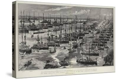 The Great Coronation Naval Display, Bird'S-Eye View of the Fleet Assembled at Spithead-Charles Edward Dixon-Stretched Canvas Print