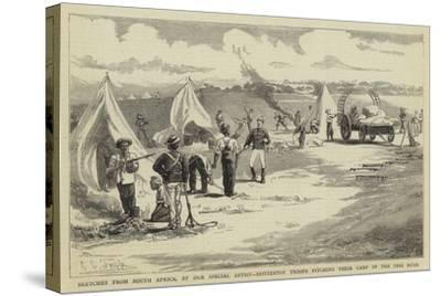 Sketches from South Africa, Hottentot Troops Pitching their Camp in the Peri Bush-Charles Edwin Fripp-Stretched Canvas Print