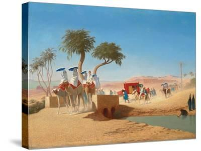 The Empress Eugenie Visiting the Pyramids-Charles Theodore Frere-Stretched Canvas Print