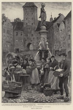 Market Day at Landsberg, Bavaria-Clement Flower-Stretched Canvas Print