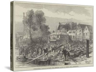 International Four-Oar Boat-Race, the Americans Landing at Biffin's Yard, Hammersmith-Charles Robinson-Stretched Canvas Print