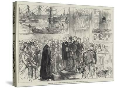 Departure of the Marquis of Lorne and Princess Louise from Liverpool for Canada-Charles Robinson-Stretched Canvas Print