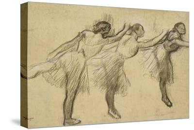 Three Studies of a Ballerina (Charcoal Rubbed and Touched with Pink and Brown Pastels on Thin-Edgar Degas-Stretched Canvas Print