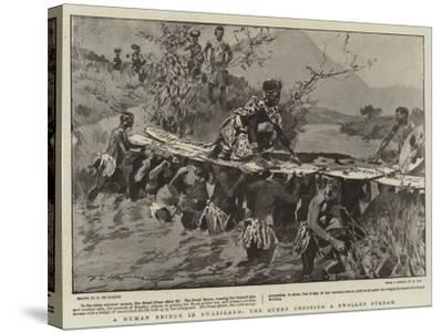 A Human Bridge in Swaziland, the Queen Crossing a Swollen Stream-Frederic De Haenen-Stretched Canvas Print
