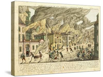 View of New York During the Great Fire of 1776; Representation Du Fue Terrible a Nouvelle York-Franz Xavier Habermann-Stretched Canvas Print
