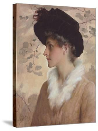 Portrait of a Lady, Half-Length, Wearing a Black Hat and Fur Stole, 1888 (Pencil and W/C on Paper)-George Henry Boughton-Stretched Canvas Print