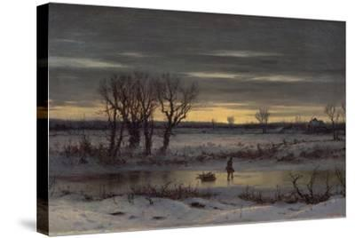Winter Twilight Near Albany, 1858-George Henry Boughton-Stretched Canvas Print