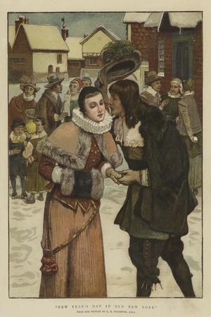 New Year's Day in Old New York-George Henry Boughton-Stretched Canvas Print